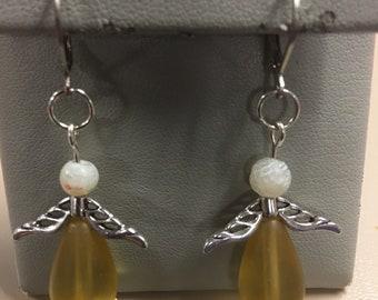 Yellow angel earrings