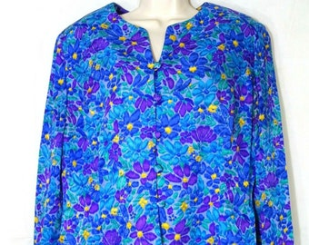 88b1ef29e39d0c Vintage Adrianna Papell Silk Jacket Top Women Size 18 Purple Multicolor  Floral Long Sleeve