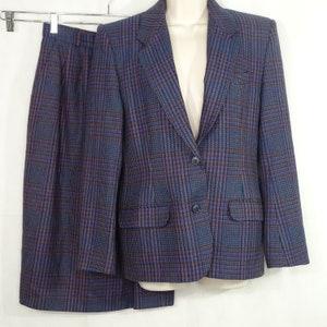 10 Merino Wool Pant Suit Austin Reed Black Size 10 Cardigan Etsy