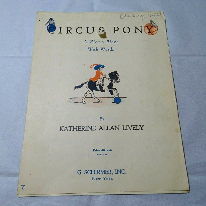 Circus Pony Piano Sheet Music with Words Vintage Katherine image 0