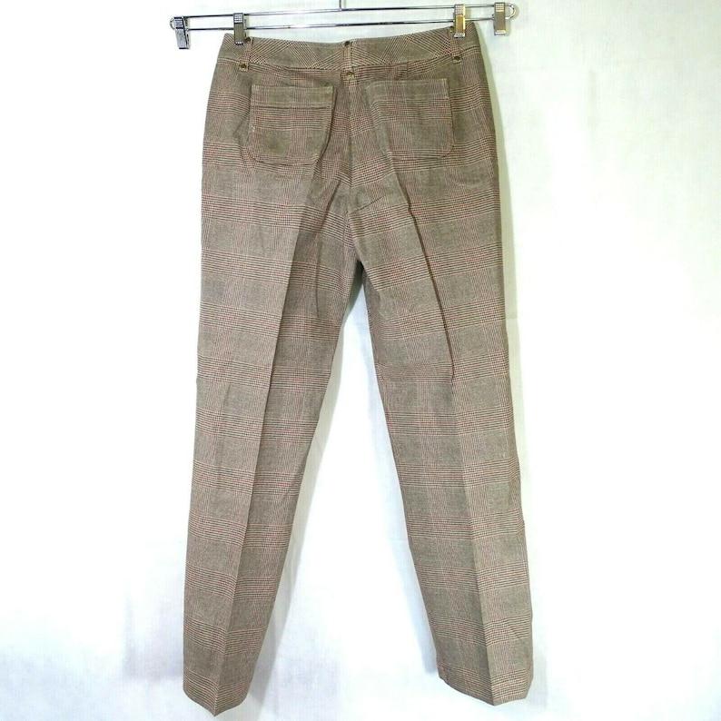 Talbots Dress Pants Stretch Straight Leg Women Size 10 Brown Red Plaid