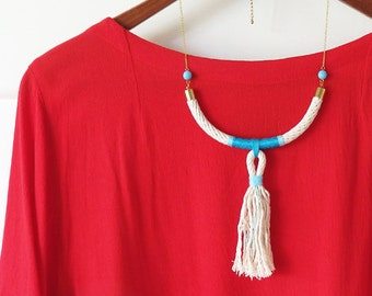 One of a Kind Rope Necklace - Natural Cotton Rope - Turquoise and Gold
