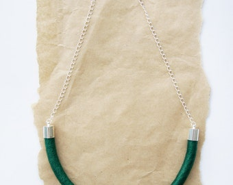 Wrapped Cotton Rope Necklace - Emerald Green Thread - Gift for Her - Cord Necklace