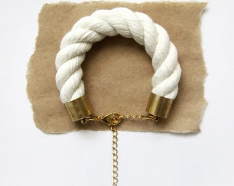 Nautical Rope Bracelet - Chunky Piping Cord Bracelet - Natural Cotton Rope - Gift for Her