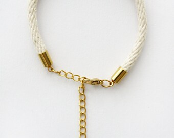 Thin Rope Bracelet - Natural Cotton - Gold Chain - Delicate Rope Bracelet - Fine Rope Jewellery