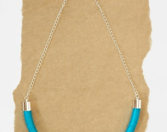 Cotton Wrapped Rope Necklace - Dark Turquoise Thread - Silver Chain - Cord Necklace