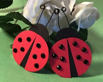 Ladybugs with Faceted Gems and Antennae
