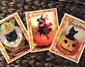 Vintage Style Set of 5 Halloween Cards with Black Cats, Witches and Pumpkins