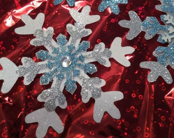"""Glittered Bejeweled Snowflakes, 3"""" Wide, Set of 3, Light Blue, Gray, Silver & White, Extra Sparkly!"""