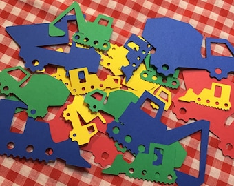 Construction Vehicle Confetti, Cement Truck, Dump Truck, Crane, and Excavator, Many Sizes and Colors!