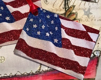 Glittered Tags, Star Spangled Banner, Extra Sparkly, Entire Front is Glittered!