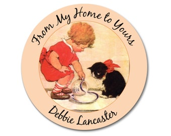 Personalized Kitty Address Labels, Vintage Style Girls with Cats