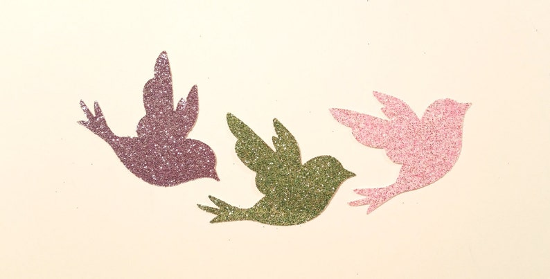 Wedding Favor Craft Supply Glittered Birds ~ 2.5 Hand-Glittered Bird Confetti for Anniversary Decor Photo Prop Baby Shower