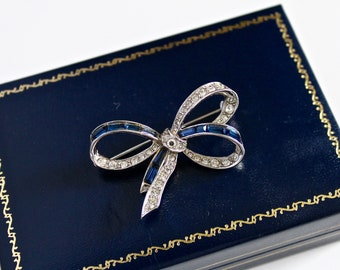 RÉSERVÉ pour R     ((signé Marcel Boucher 5268 vintage des années 1960  noeud broche avec strass clairs  2254 03115a35c57e