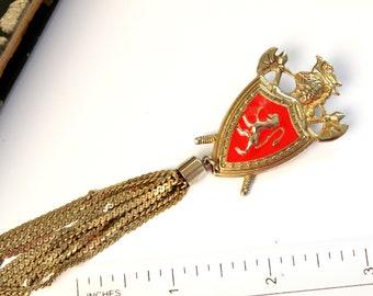 Vintage Signed Coro Pendant Castle Knight Antique Silver Toned