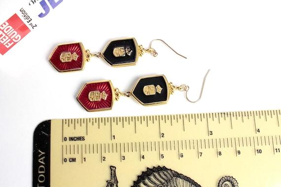 Vintage LC Heraldic  Black and Red enamel pierced   earrings #1079