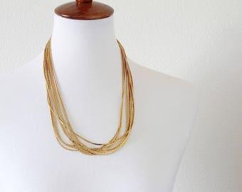 Vintage Multi strand  gold tone chain necklace #1118