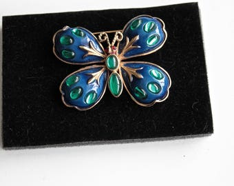 Rare Signed HAR/Hargo Creations N.Y.  Green  Jelly Belly Cabochons and blue  enamel Butterfly  Brooch #1777
