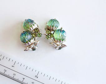 Vintage  signed ART Watermelon Iridescent blue glass  earrings # 1163