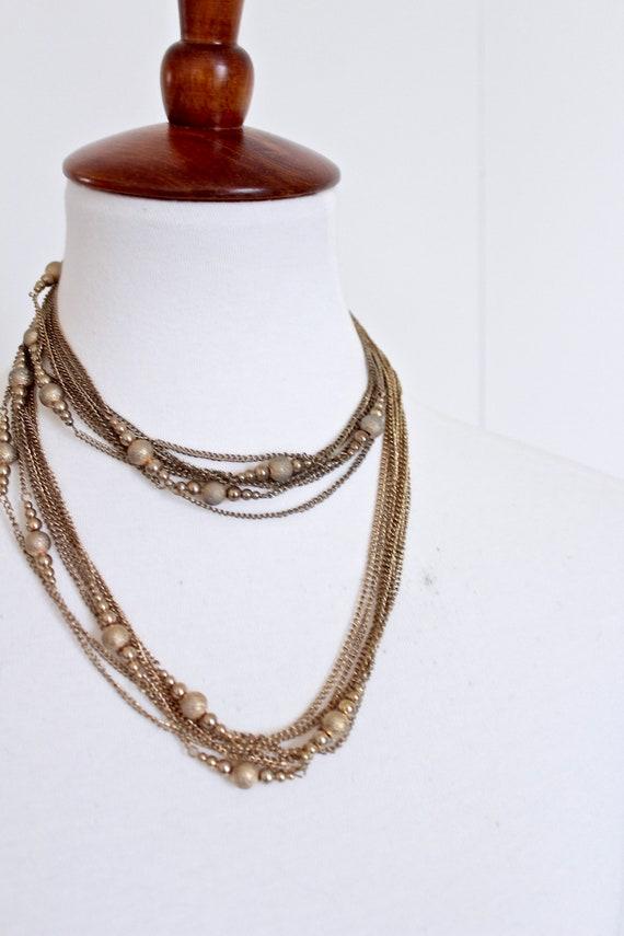 Multi strand  gold tone chain necklace  retro  cha