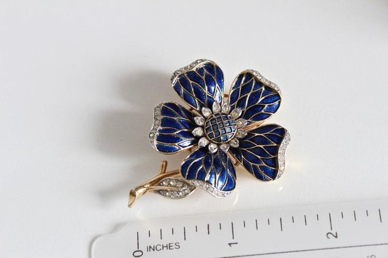 clear  rhinestones #2514 Crown Trifari Harlequin Blue  Enamel Floral Flower  Brooch