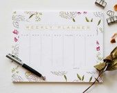 Floral Weekly Planner, Memo Pad, To-do list pad, Notepad, Agenda