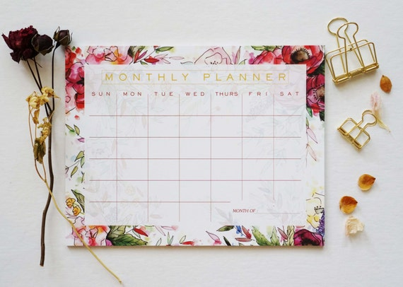 Sottomano Scrivania Verde : Floreale mensile sottomano scrivania calendario agenda etsy