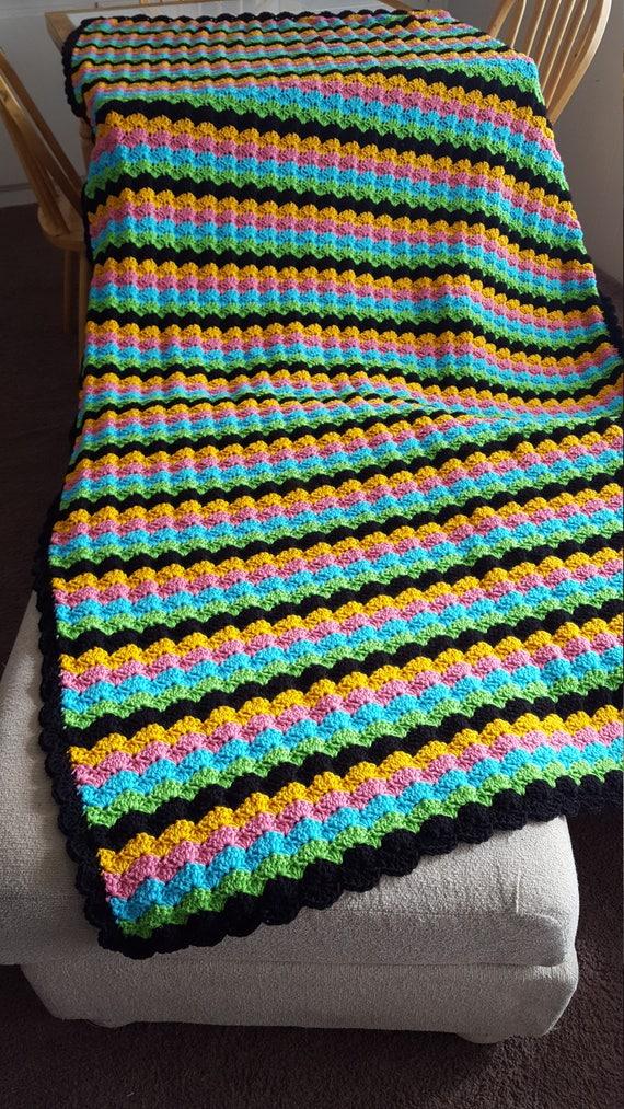 Crochet Striped Shell Stitch Blanket Baby Blanket Stroller Etsy