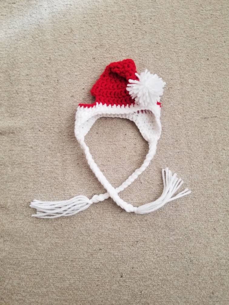 Crochet Santa Dog Hat With Earflaps And Braids Warm Dog Hat Etsy