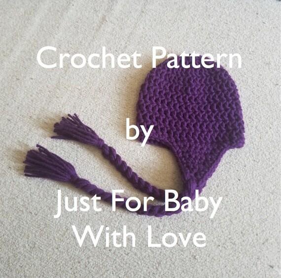 CROCHET PATTERN Earflap Hat with Braids Sizes Newborn 0-3M  9489ca2af94