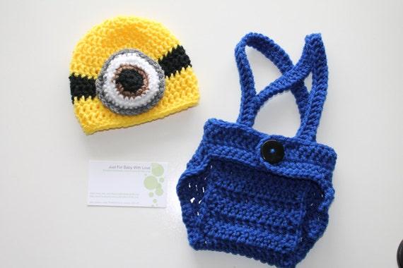 Crochet Baby Boy Girl Photo Prop Set Despicable Me Minion Hat Etsy