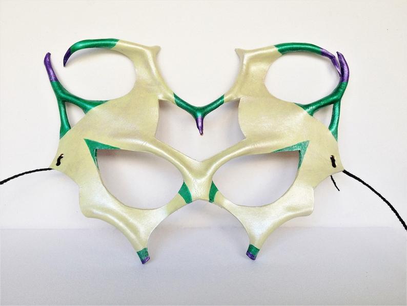 Court Jester Mask Cream Clown Leather Mask Mardi Gras Mask Halloween Clown Court Jester Costume Masquerade Party Circus Renaissance Faire
