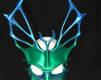 Leather Mask GREEN W/ BLUE TRITON Costume Poseidon Mask larp Masquerade Mask Halloween Mask Water Fairy Mermaid Costume Mardi Gras Carnival