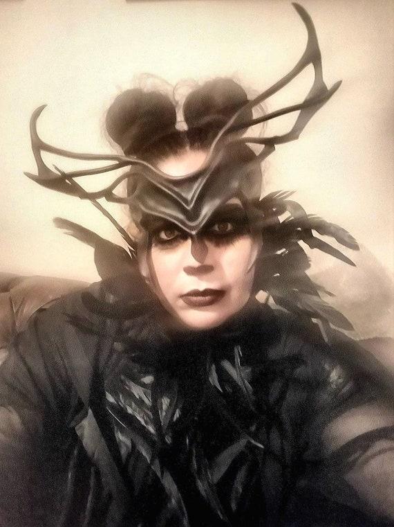 Leather Headpiece Cosplay Horns DARK INDIGO Antlers Leather Mask Villian Costume Fantasy Festival Halloween Carnival Comicon larp Helm