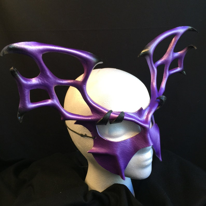 eb18bfd91dc4 SORCERESS Leather Mask Purple Evil Spider Queen Fantasy Mask | Etsy
