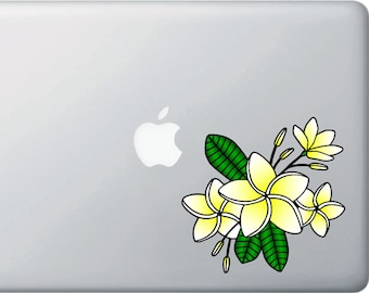 "CLR:MB - Tropical Plumeria Flower Cluster - Vinyl Decal for Laptop | Macbook - © 2016 YYDCo. (5""w x 4.75""h) (Color Choices Available)"