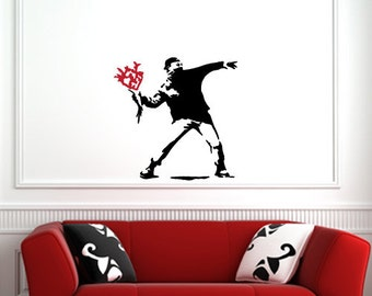 Molotov Guy Throwing Apple BLACK Banksy Style iPAD 3.2w x 3.7h iPad or Tablet Vinyl Decal