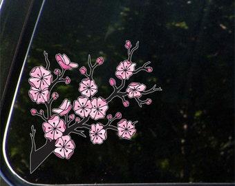 "CLR:CAR - Cherry Blossom Branch - Sakura Branch - Car Vinyl Decal Sticker - ©YYDC (5.5""w x 5.5""h)"