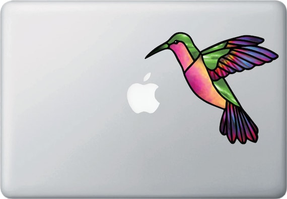 """CLR:CAR LARGE 6/""""W x 5/""""H Hummingbird Stained Glass Style Vinyl Decal ©YYDC"""