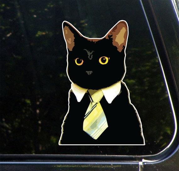 Corporate Cat Wearing Tie Vinyl Decal Sticker Water Bottles Car Window Decor