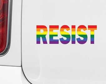 CLR:CAR - Resist in Rainbow Pride - Vinyl Car Decal for Windows or Bumper - YYDC (Size Choices)