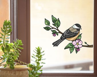 CLR:WND - Chickadee with Apple Blossom - Stained Glass Style Bird Vinyl Window Decal (See-Through) ©YYDC (Size Choices)