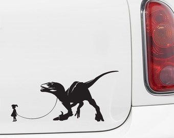 "CAR - Pet Dinosaur - A Girl and Her Velociraptor - Car | Truck | ATV Vinyl Decal - ©YYDC (7""w x 3.5""h) (Variations Available)"
