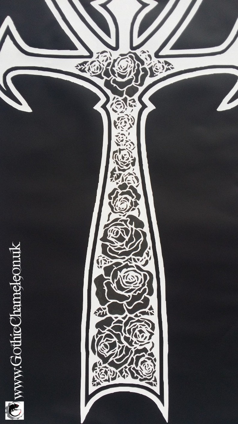 Very Large Black /& White Ankh Transfer Patch with Rose Pattern