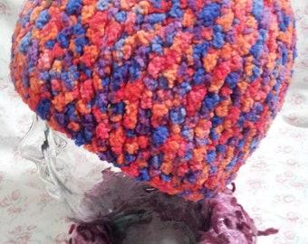 Crochet beanie hat in textured varigated yarn