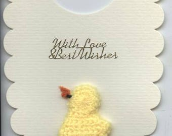 Baby bib shaped card with duckling design