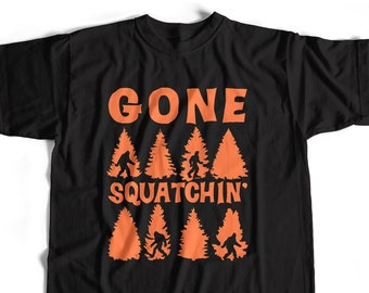 d7dbfa2e Old Skool Hooligans Bigfoot T Shirt - Gone Squatchin' Trees Sasquatch |  S-5XL and Lady Fit Sizes Available Classic Hairy Tee Americana