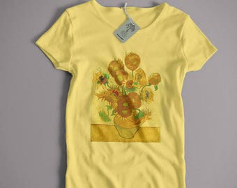 Vincent Van Gogh T Shirt - Sunflowers An Old Skool Hooligans Fine Art T Shirt | Unisex and lady fit sizes available full colour print