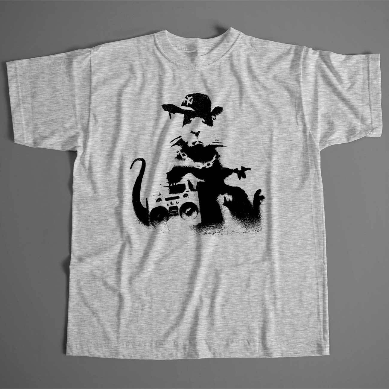 Banksy T Shirt - Rat Fit rappeur unisexe et Dame Fit Rat tailles disponibles Street Art Graffiti anti-capitalisme Old Skool voyous 45fd20