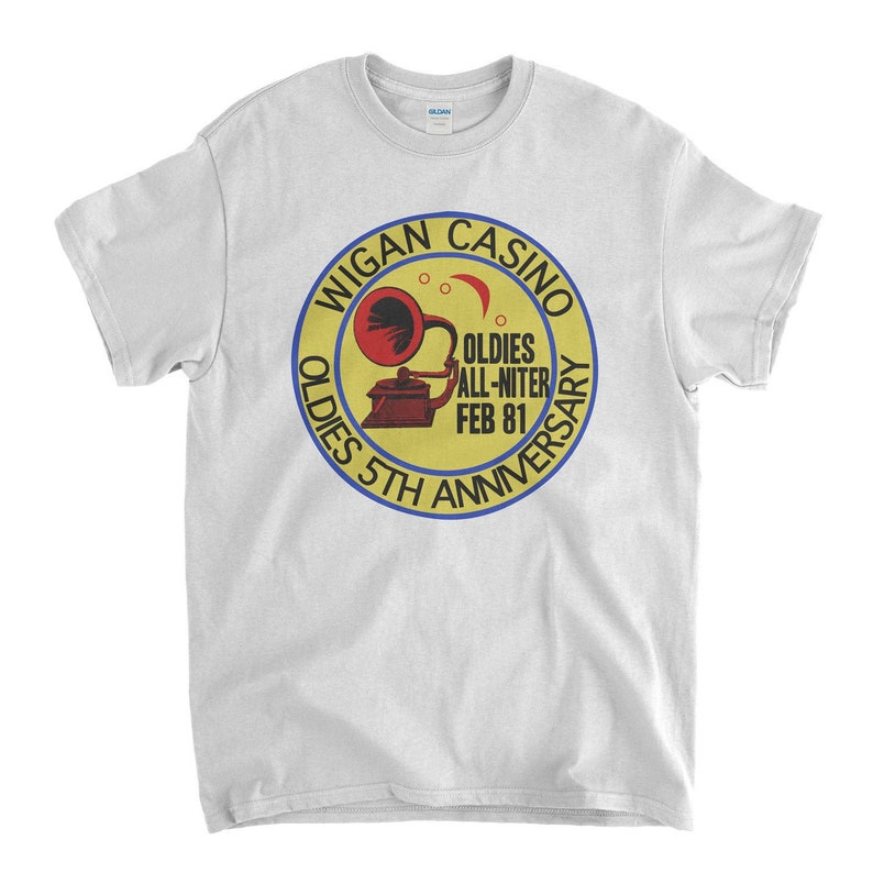 Northern Soul T Shirt - Wigan Casino Oldies All Nighter Feb 81 Old Skool  Hooligans Unisex and Lady Fit Sizes Available Up To 5XL